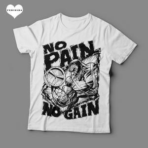 Camiseta No Pain No Gain Arte Feminina Branca