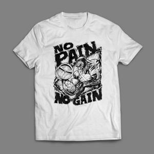 Camiseta No Pain No Gain Arte Masculina Branca