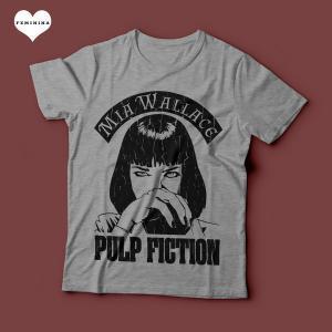 Camiseta Pulp Fiction Mia Wallace Feminina Cinza Mescla