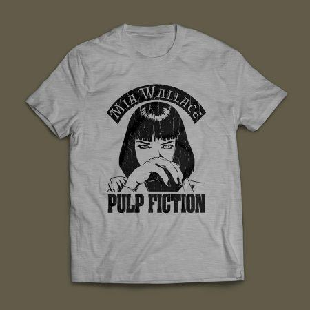 Camiseta Pulp Fiction Mia Wallace Masculina Cinza Mescla