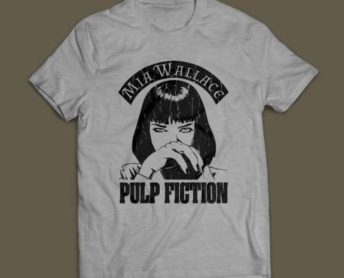 Camiseta Pulp Fiction Mia Wallace Masculina Cinza Mescla