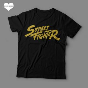 Camiseta Street Fighter Logo Feminina Preta
