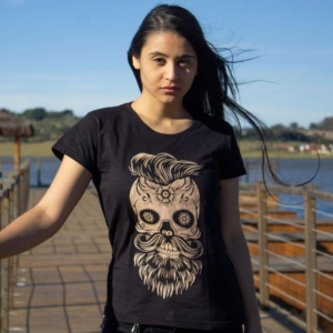 Camiseta caveira mexicana com barba feminina Capa 2