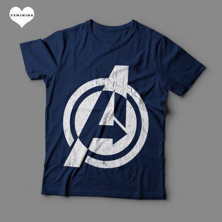 Camiseta Os Vingadores Avengers Feminina Azul Marinho