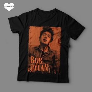 Camiseta Bob Dylan Feminina Preta Estampa Laranja