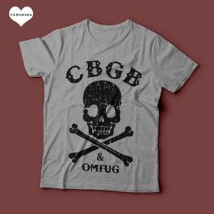 Camiseta CBGB & OMFUG Punk Rock Feminina Cinza Mescla