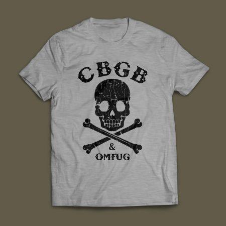 Camiseta CBGB & OMFUG Punk Rock Masculina Cinza Mescla