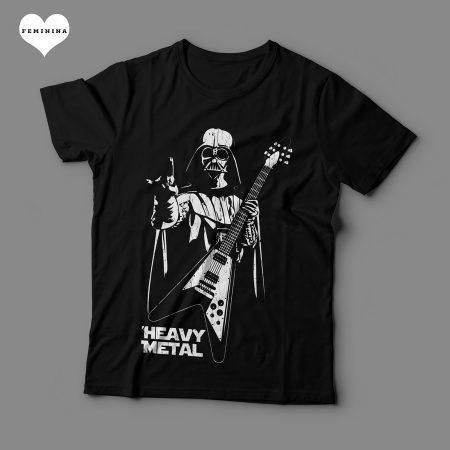 Camiseta Darth Vader Heavy Metal Star Wars Feminina Preta