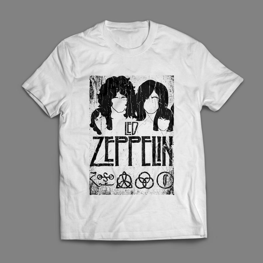 Camiseta Led Zeppelin Masculina Branca