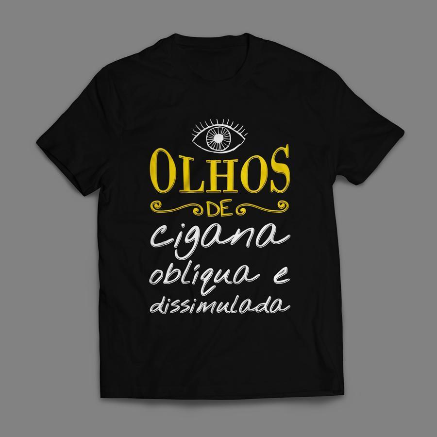 Camiseta Olhos de Cigana Oblíqua e Dissimulada Masculina Preta