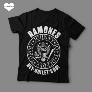 Camiseta Ramones Look Out Below Feminina Preta e Branca