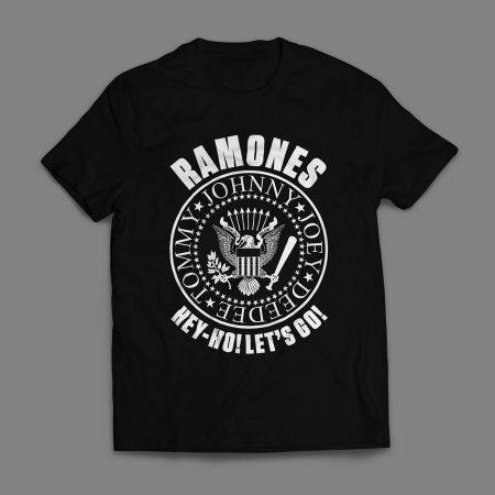 Camiseta Ramones Look Out Below Masculina Preta e Branca