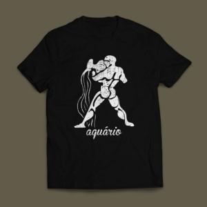 Camiseta Signo Aquário Masculina Preta