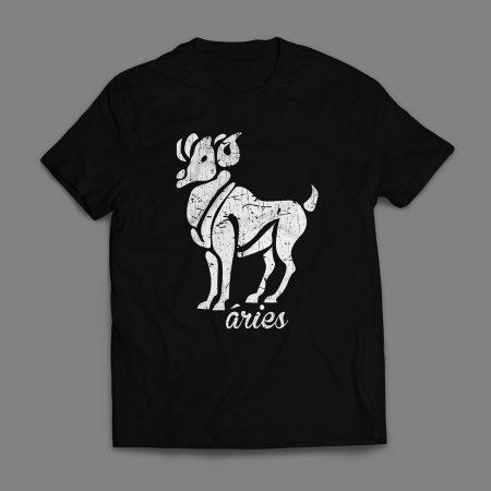 Camiseta Signo Áries Masculina Preta