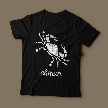 Camiseta Signo Câncer Feminina Preta