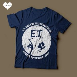 Camiseta ET O Extraterrestre Steven Spielberg 1982 Feminina Azul Marinho
