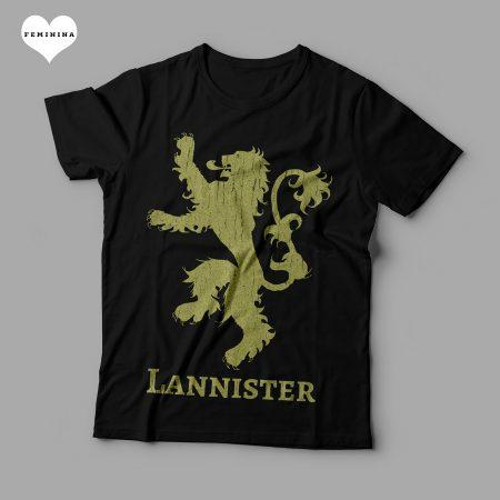Camiseta Lannister Game Of Thrones Feminina Preta