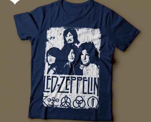 Camiseta Led Zeppelin com Símbolos e Arte Feminina Azul Marinho