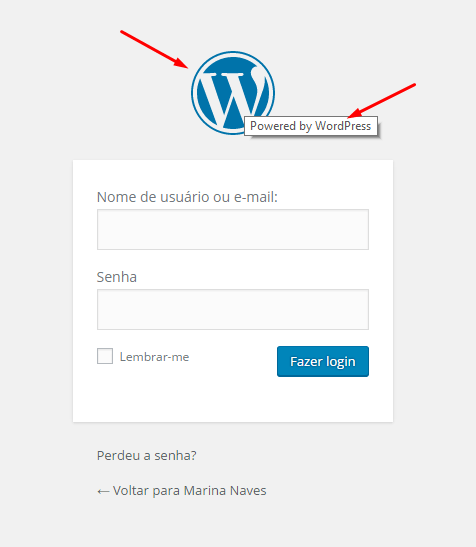 Página de login do WordPress