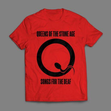 Camiseta Queens Of The Stone Age Masculina Vermelha e Preta