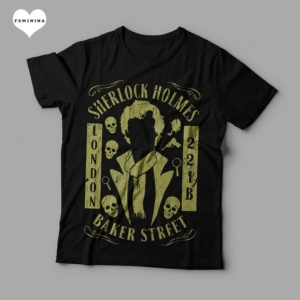 Camiseta Sherlock Holmes London 221B Baker Street Feminina Preta