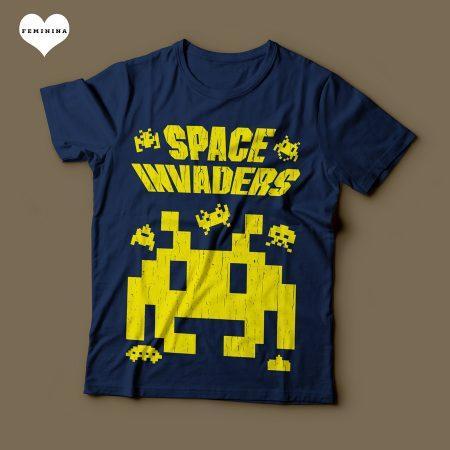 Camiseta Space Invaders Feminina Azul Marinho