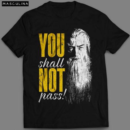 Camiseta You Shall Not Pass Gandalf Masculina Preta