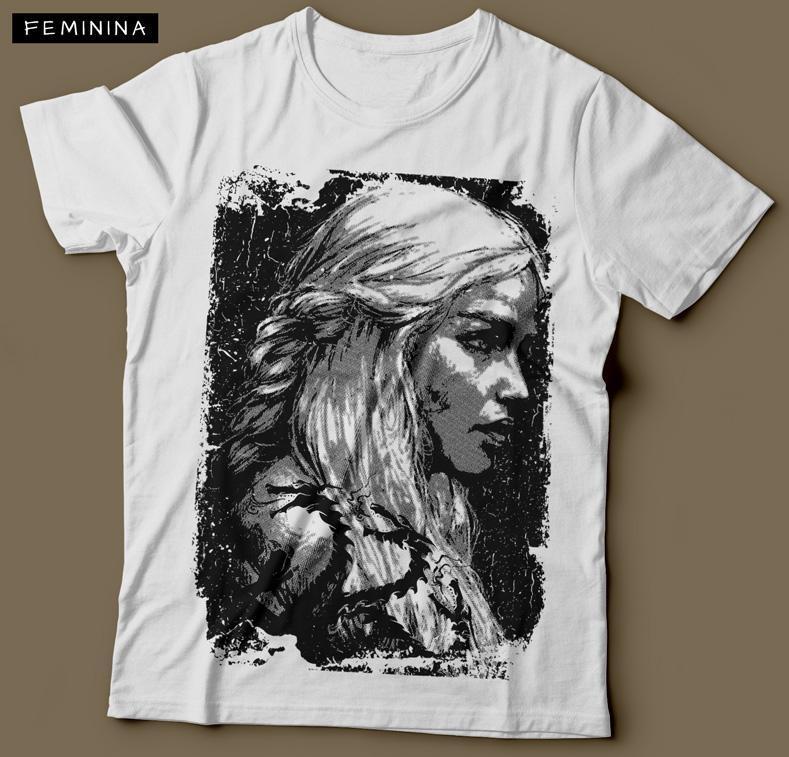 Camiseta Daenerys Targaryen Game Of Thrones Feminina Branca