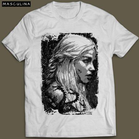 Camiseta Daenerys Targaryen Game Of Thrones Masculina Branca