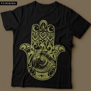 Camiseta Hamsa Feminina Preta e Ouro cintilante