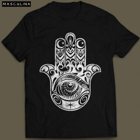 Camiseta Hamsa Masculina Preta e Branca