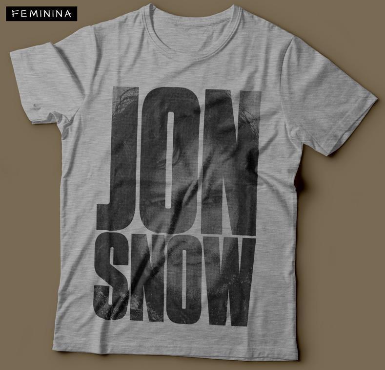 Camiseta Jon Snow G.O.T Feminina Cinza Mescla