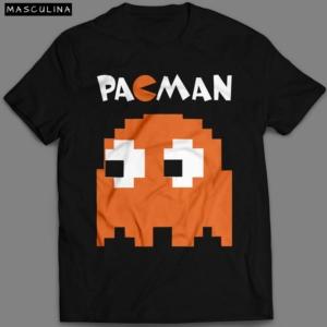 Camiseta Pac Man Fantasma Masculina Preta