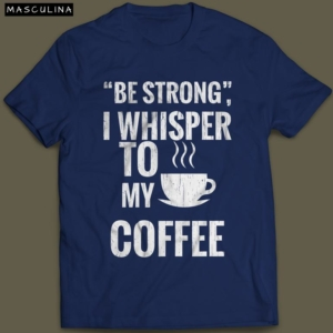 Camiseta Para Amantes de Café Forte Masculina Azul Marinho