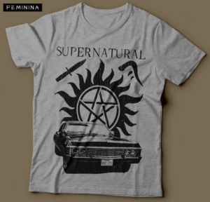 Camiseta Sobrenatural Supernatural Feminina Cinza Mescla