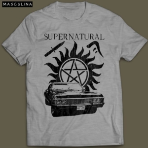 Camiseta Sobrenatural Supernatural Masculina Cinza Mescla