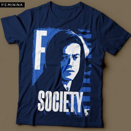 Camiseta Mr Robot Elliot Anderson FSociety Feminina Azul Marinho