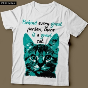 Camiseta Com Estampa De Gato Great Cat Feminina Branca
