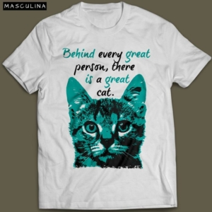 Camiseta Com Estampa De Gato Great Cat Masculina Branca