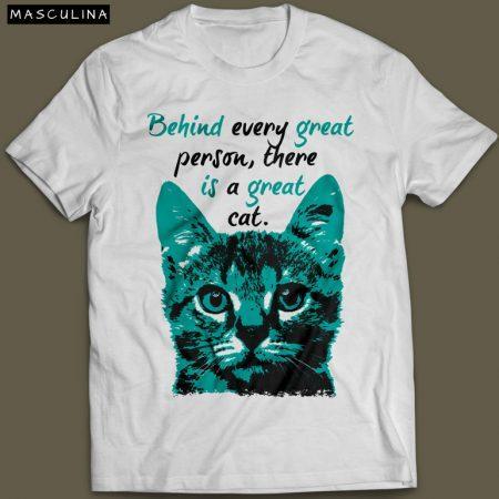 Camiseta Com Estampa De Gato Great Cat Masculina Branca