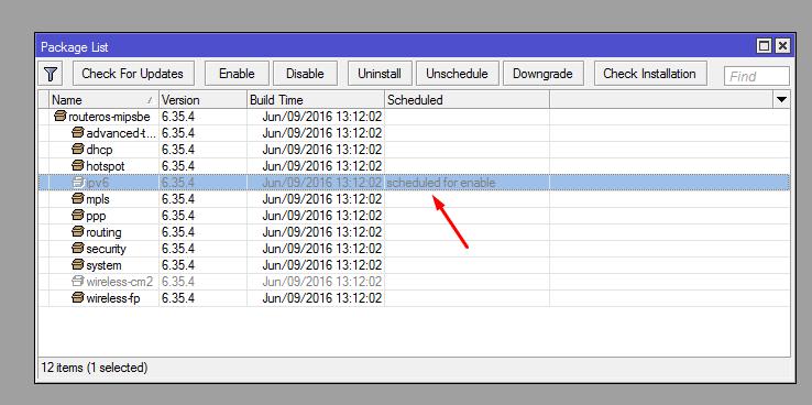 "Perceba a mensagem ""scheduled for enable"" na frente do pacote"
