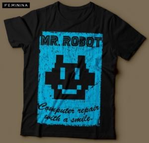 Camiseta Mr. Robot Computer Repair With a Smile Feminina Preta