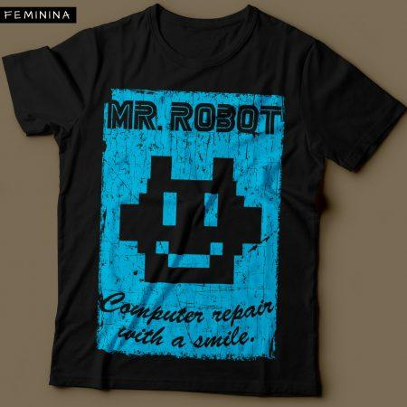 Camiseta Mr. Robot Computer Repair With a Smile Feminina Preta