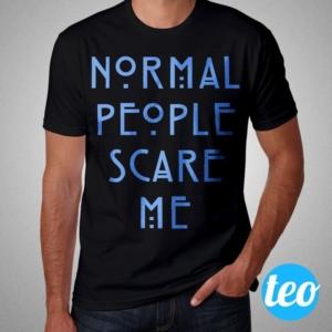 Camiseta Normal People Scare Me Masculina Preta e Azul Céu
