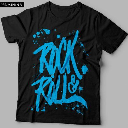 Camiseta Rock and Roll Feminina Preta Cover
