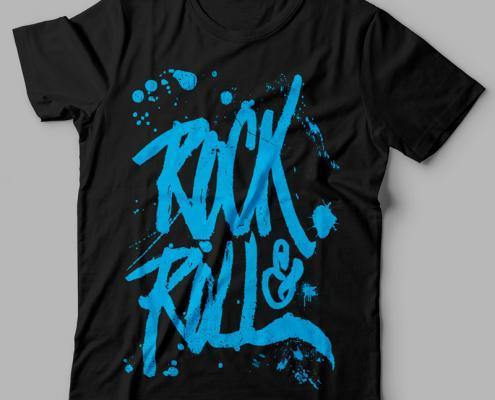 Camiseta Rock and Roll Feminina Preta Cover