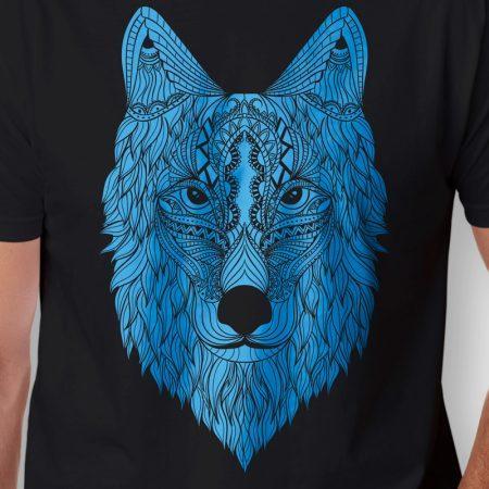 Camiseta Wolf Lobo Masculina Preta Zoom