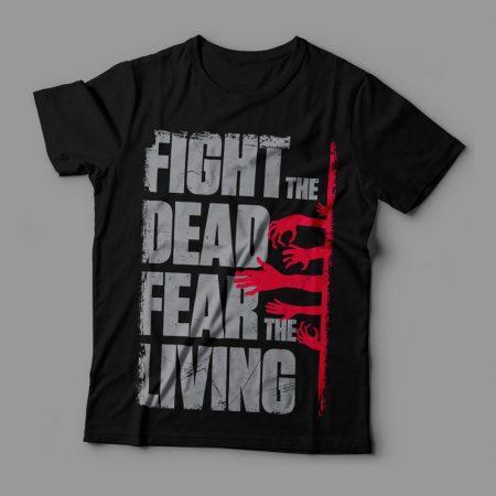Camiseta The Walking Dead Fear The Living Feminina Cover