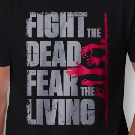 Camiseta The Walking Dead Fear The Living Masculina Zoom