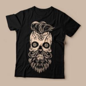 Camiseta caveira mexicana com barba feminina cover